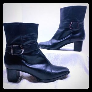 Anne Klein Black Leather Booties Silver Buckles